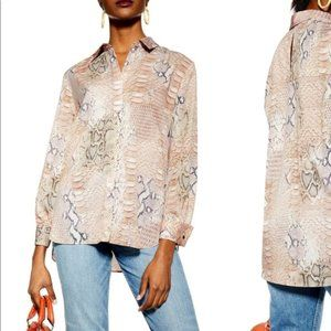 Topshop Snakeskin Print Button Down Chiffon Top